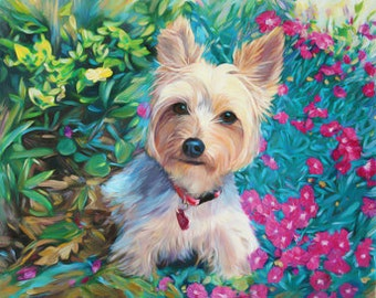 Pet Portrait from Your Photos - Contemporary Dog Painting on Canvas - Personalized Fine Art