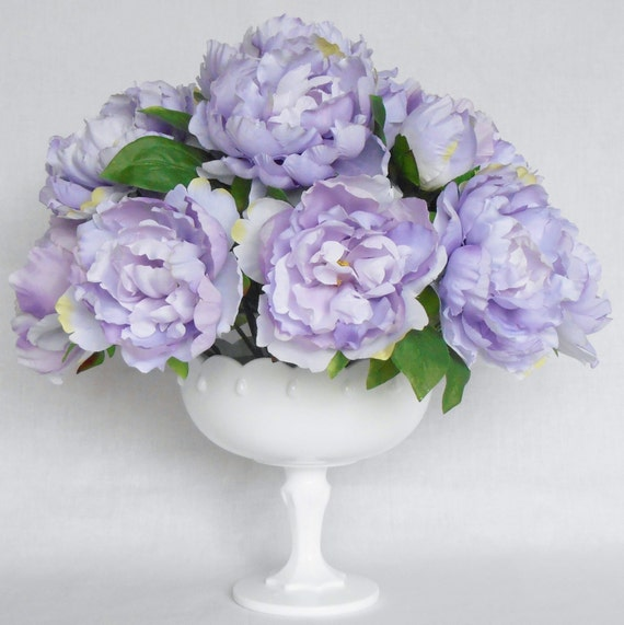 Silk Flower Arrangement Light Purple Peonies Milk Glass