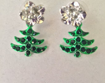 Christmas tree dangle post earrings