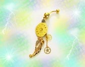 Steampunk Gold Diamond Watch Face Dial With Dangling Gold Crystal Filigree Wing,Heart & Gold Watch Wheels, Belly Button Ring, Women or Teens