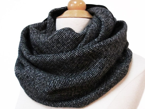 handmade infinity scarf circle snood black gray grey simple plain wool fabric jersey