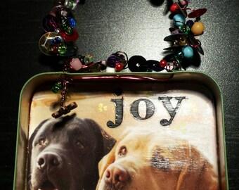 Mixed Media Altered Tin Art, hanging, Labradors, beads, upcycled art