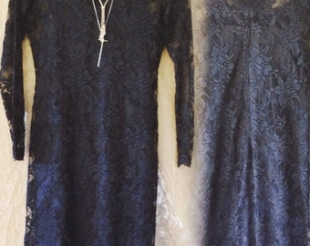 Vintage black floral sheer women's size small 6 dress