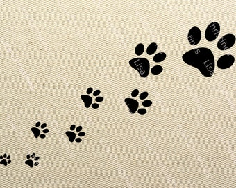 Paw Prints Black Silhouette Illustration Clipart, Instant Download, Digital Transfer Image for Fabric Transfers, Paper Crafts etc 405