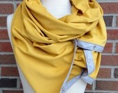 Extra Large Mustard Yellow Knit Eternity Scarf with Snaps/ Blanket Scarf/ Nursing Scarf Cover