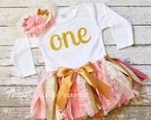 Monogram Name Customized 1st First Birthday Pink Gold Ivory Vintage Shabby Chic Fabric Lace Rag Tie Baby Tutu Headband toddler cake smash