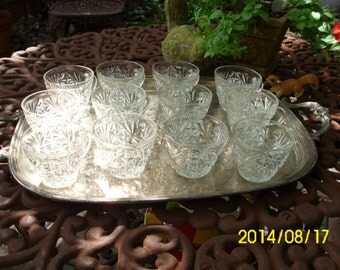 12 Vintage Assorted Glass Punch/Coffee/Tea Cups-Serving/Wedding/Bridal Shower