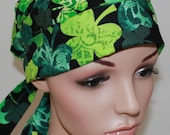 Pleated back Surgical Scrub Hat with band. St. Patrick's Day Shamrocks 21057