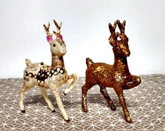 Vintage Plastic Deer.   Pair.   Gold and Pink.