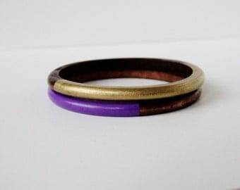 Geometric  Skinny Wood bangle  Set Gold and Purple.
