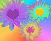 Poster Daisy Hearts Fine Art Abstract Print Poster 11.25x17, 18x24, 24x36