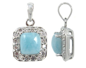 Beautiful, Sparkling Sterling Silver Square Larimar Pendant With Round White Topaz Stones