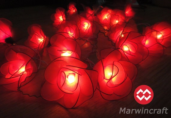 Red String Lights For Bedroom : 20 Red String Lights Rose Flower Fairy Lights Bedroom Home