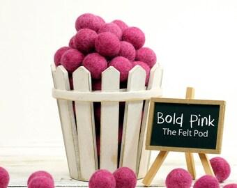Felt Beads // Felt Ball Garland DIY // diy Mobile // diy Necklace // Wool Felt Balls // Pure Wool Pom Poms // BOLD PINK // 2.5 cm