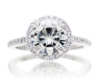 Moissanite Engagement Ring in 14 Karat White Gold 8mm Round Halo Forever Brilliant Diamond Halo Engagement Ring