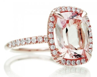 18K Rose Gold 11x9 mm Cushion Cut Diamond Halo Engagement Anniversary Gemstone Morganite Ring