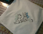 Flour SAck Dish Towel - Hand Embroidery Scottie puppies - Ironing Day