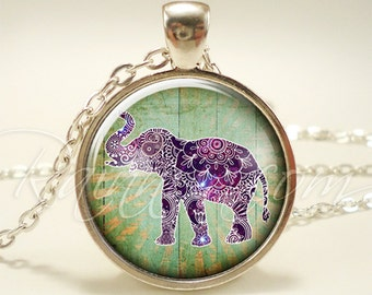 Bohemian Elephant Necklace, Gypsy Pendant, Boho Jewelry (1880S1IN)