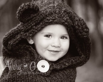 Bear Hood, Hooded Cowl, Hooded Bear Cowl, Bear Cowl, Knitted Bear Cowl, Knitted Hooded Bear Cowl Toddler, Child, Adult Sizes, Made to Order