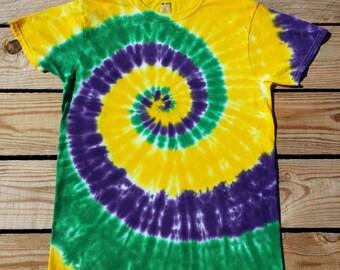 Mardi Gras Tie Dye T-Shirt,  Plus Size 2XL 3XL 4XL 5XL 6XL, Purple Green and Yellow Tie Dye Top, Hippie Shirt