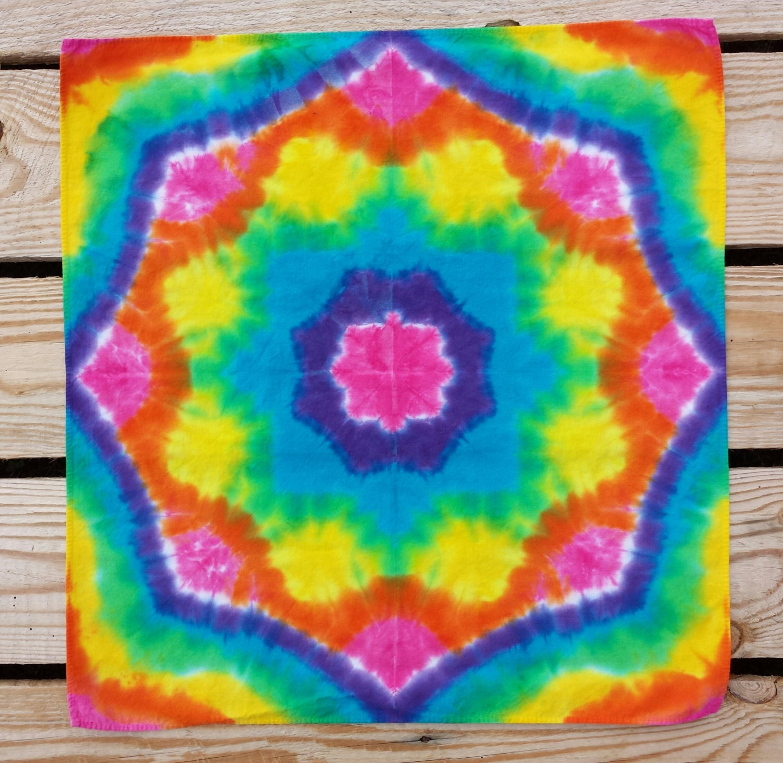 rainbow tie dye bandana hair wrap dread wrap by