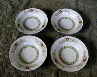 Mikasa Kabuki Rim Soup Bowls  Platinum Trim Very good Set of 4 is included  Two sets available