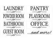 Custom Door Decals - Pick one - You Choose the Wording - Custom Made and Personalized - Custom Laundry Pantry Powder Room Bathroom