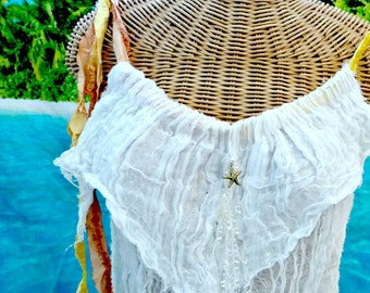 Starfish Tank Top Crop ivory Cotton Peach Yellow Spa Pool Bone Aquarium Sealife Cover Up Womens Beachcomber