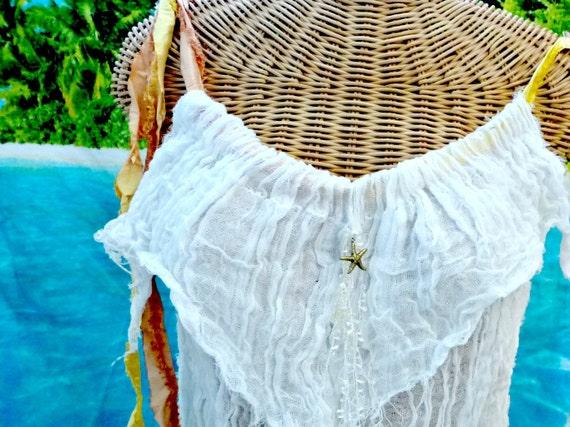 Starfish Tank Top Crop ivory Cotton Peach Yellow Spa Pool Bone Aquarium Sealife Cover Up Womens Beachcomber