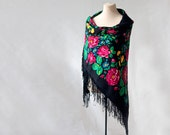 Russian shawl, SALE, DISCOUNT, black with with roses and field flowers, folk art, large wool challis, piano shawl, gypsy shawl, boho