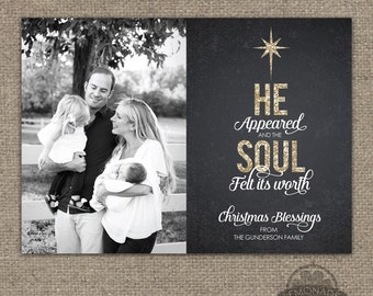 Christian Christmas Cards - Gold Glitter Chalkboard - He Appeared Soul Felt its Worth - Verse Scripture Religious Photo Card - O holy night