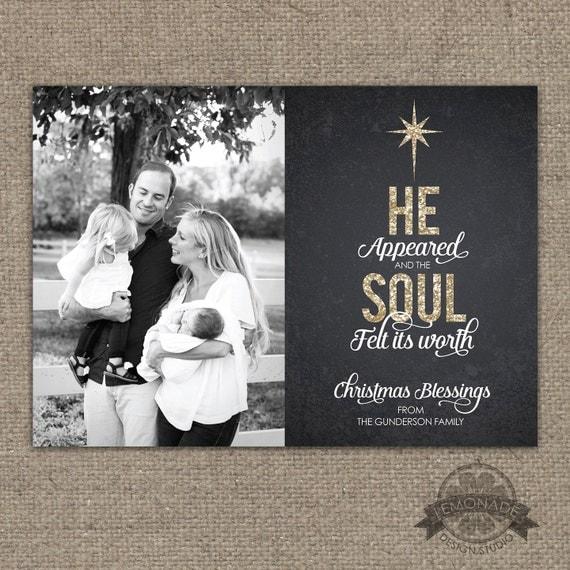 Christian christmas cards gold glitter chalkboard he for Chalkboard christmas cards