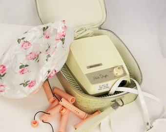 Vintage 'Dominion' Hair Dryer - Brushed Gold Pattern Case - Plastic Cap With Roses - Vintage 1950s Hair Dryer - Electric Hair Dryer With Cap