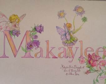 Personalized NEW BORN baby name and detail painting.