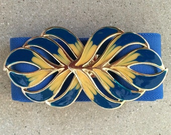 Blue Gold Enamel Belt Buckle Vintage Elastic Stretch Belt