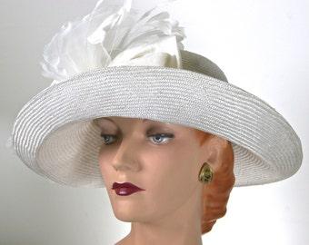 WIDE BRIM White Straw Kentucky Derby Hat,  WHITE Summer Hat, Large Brim White Hay