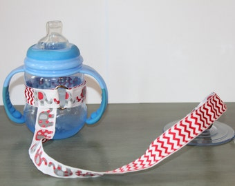 Sippy Cup Leash | Sippy Strap | Sippy Cup Strap Suction Cup | Bottle Tether | Sippy Cup Strap | Suction Sippy Strap | Elephants