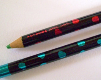 Kutsuwa Pencil. Pops Club. 1980s Heart Print Pencil. Japanese Color Pencils. Kawaii Stationery