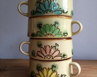 Vintage Floral Soup Bowls or Mugs