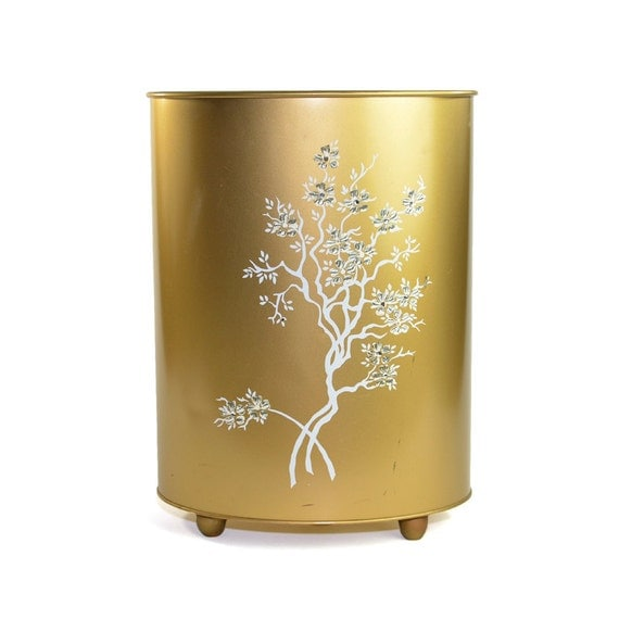 Gold metal trash can lovely white painted tree rhinestone for Gold bathroom bin