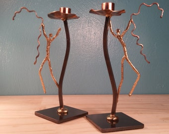 Metal Stick People  Candle Holders - Set of 2
