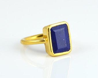 Lapis Ring - Stacking Ring - Vermeil Gold or Sterling Silver ring - Rectangle ring - Statement Ring - September Birthstone - Bezel set ring