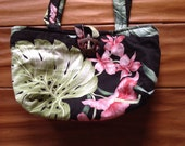 Vintage Handmade Hawaiian Honu Bag, Orchid, Anthurium and Monstera print with coconut turtle clasp