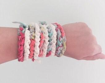 Tshirt Colorful Bracelet and Necklace Fabric Jewelry Upcycled Necklace Hippie Boho Zero Waste