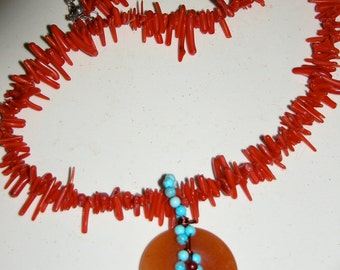 Branch Blood Coral Necklace Lovely Vintage Coral Jade and Turquoise Pendant Necklace 18 inch Choker