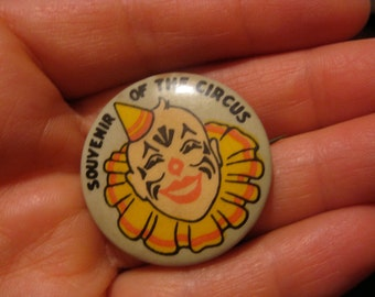 Antique Clown Pin Fun Whimsical Antique Celluloid CIRCUS CLOWN Souvenir Pinback Pin Button