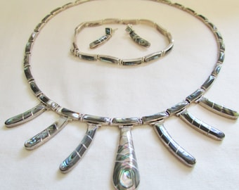 Vintage Silver Bracelet Earring Necklace Set - 1970s Abalone Sterling Shell Box Clasp Closure