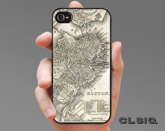 Vintage Boston Map iPhone Case for iPhone 6, iPhone 5/5s, or iPhone 4/4s, Samsung Galaxy S6, Galaxy S5, Galaxy S4, Galaxy S3