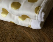 Gold polka dot burp cloth gift (set of 2) - designer fabric - modern baby - gold baby girl
