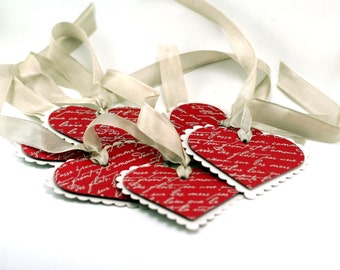 Red Heart Embossed Valentine tags, french script, romantic scalloped hearts, gift tags